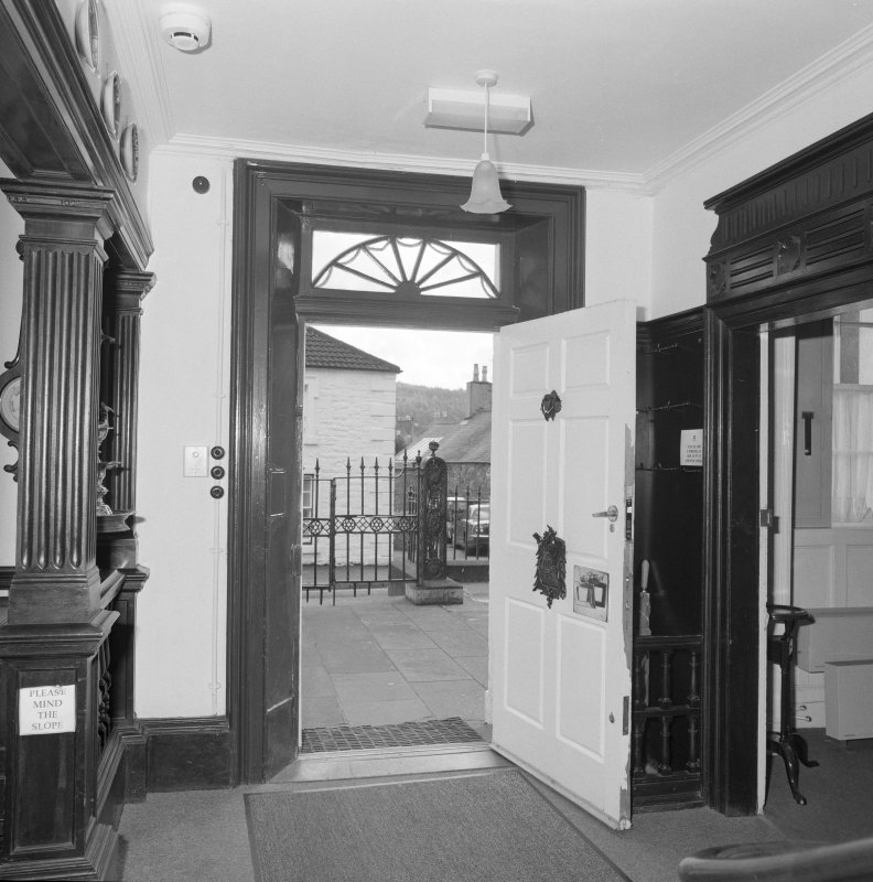 Interior, detail of front door with c.1910 brass name plate