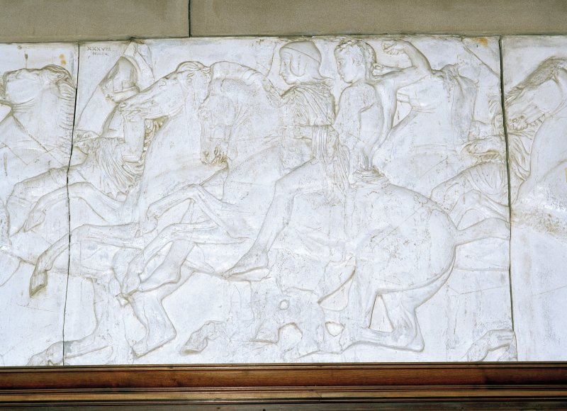 Interior, detail of gallery parthenon plaster frieze