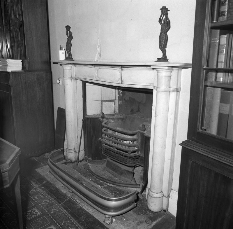 Interior, detail of first floor drawing room white marble fireplace c.1820 with register grate