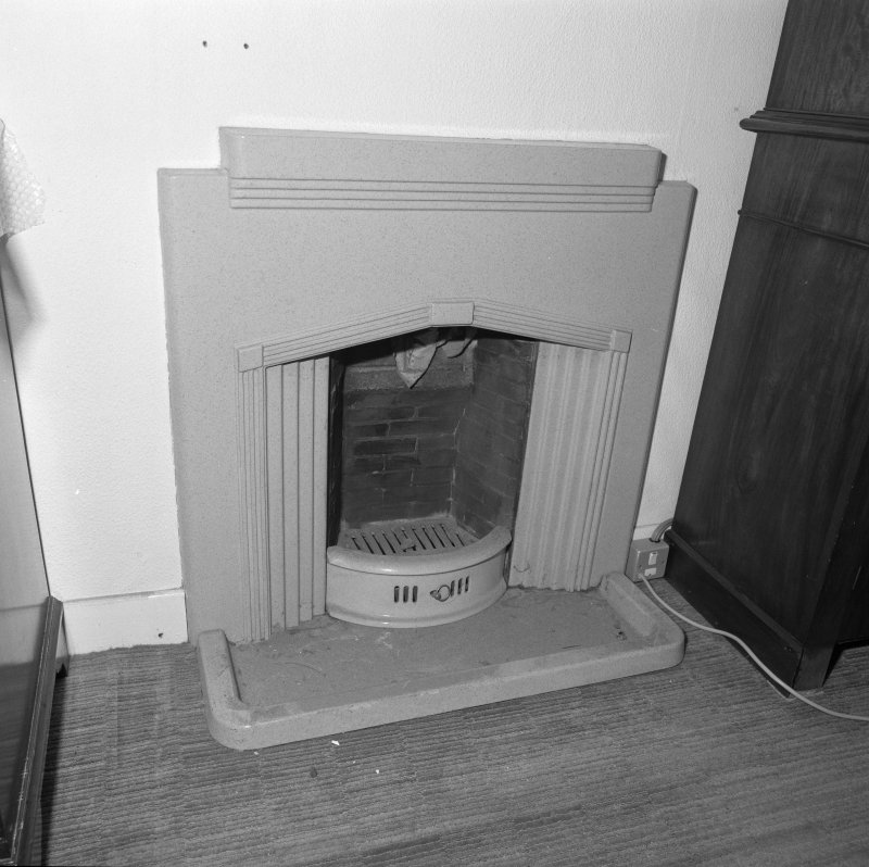 Interior, detail of lower ground floor 1930's fireplace