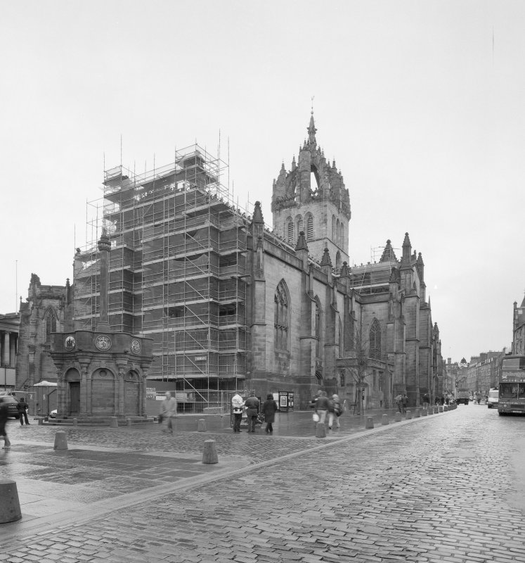 View from ESE showing E end scaffolded and Mercat Cross