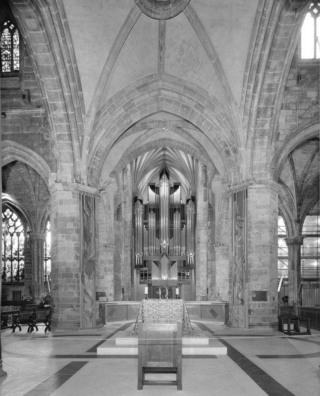 Interior, view from North Transept looking S showing the crossing and organ