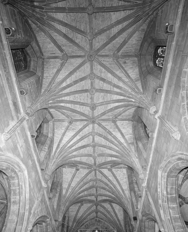Interior, Chancel vault from W