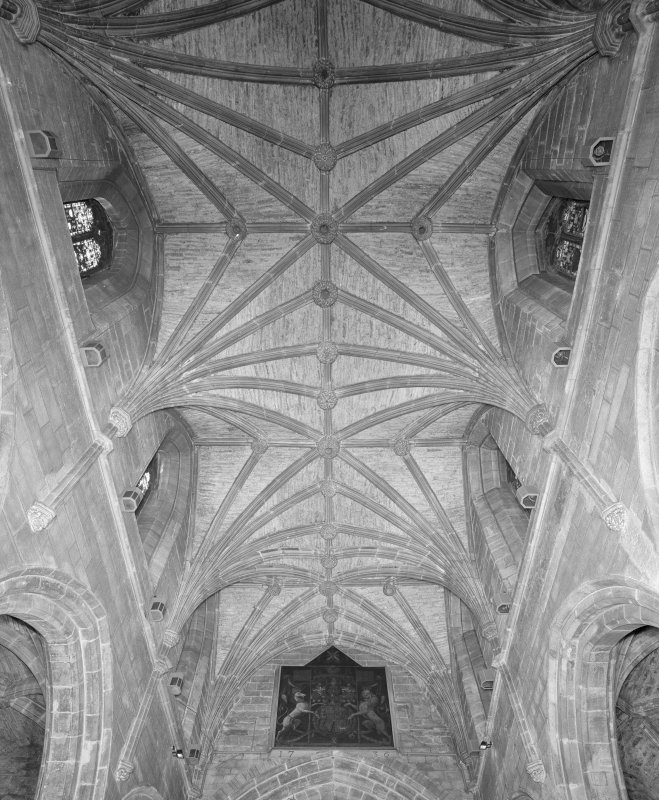 Interior, Chancel vault from E