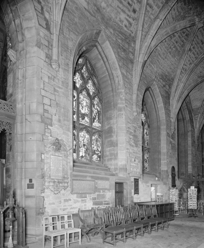 Interior, Chancel N Aisle, detail of N wall
