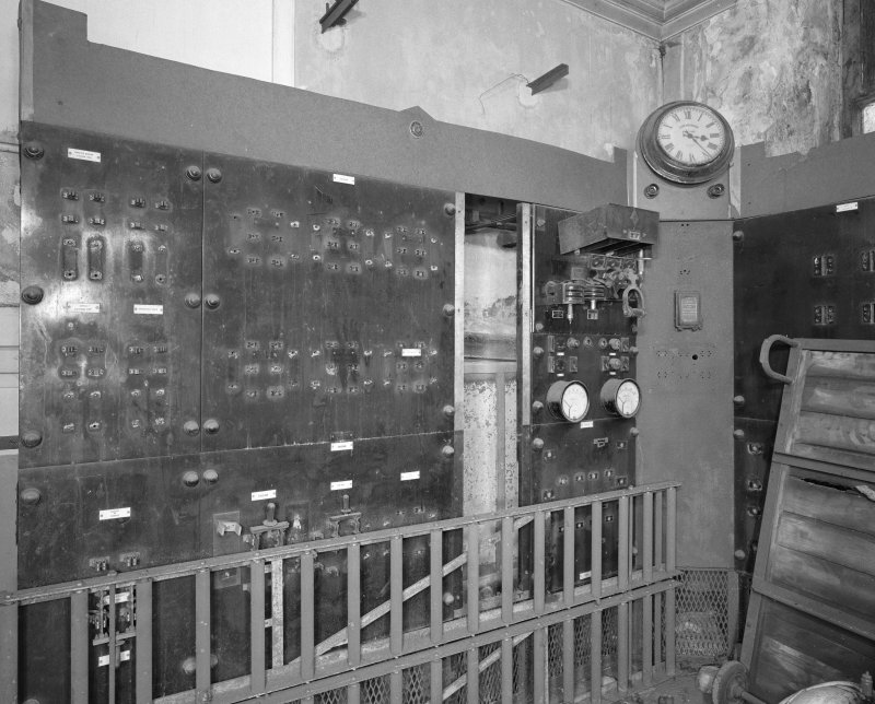 Interior, engine room, detail of switchgear panel.