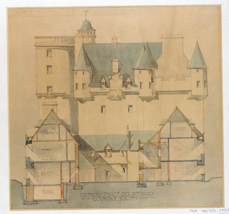 Section through courtyard of Castle Fraser looking S.