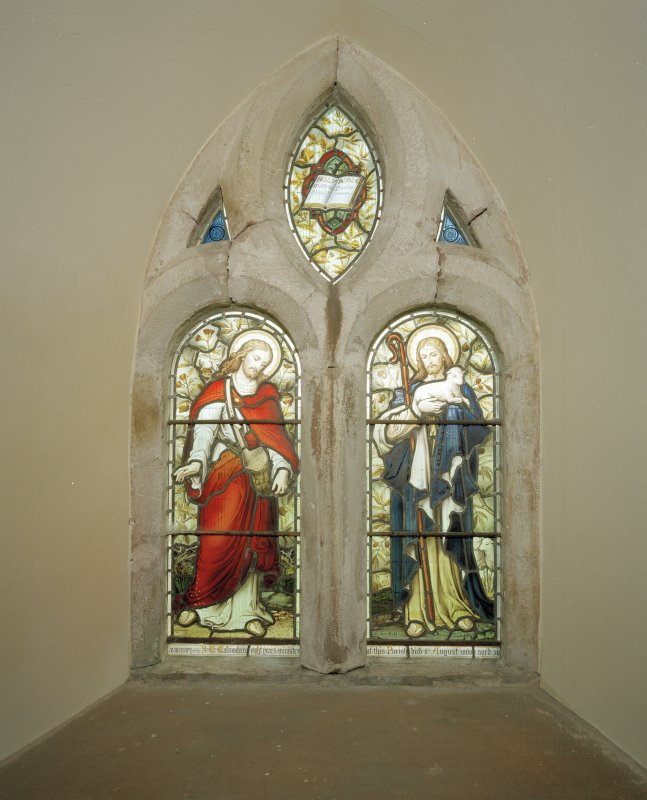 Interior. Detail of stained glass window