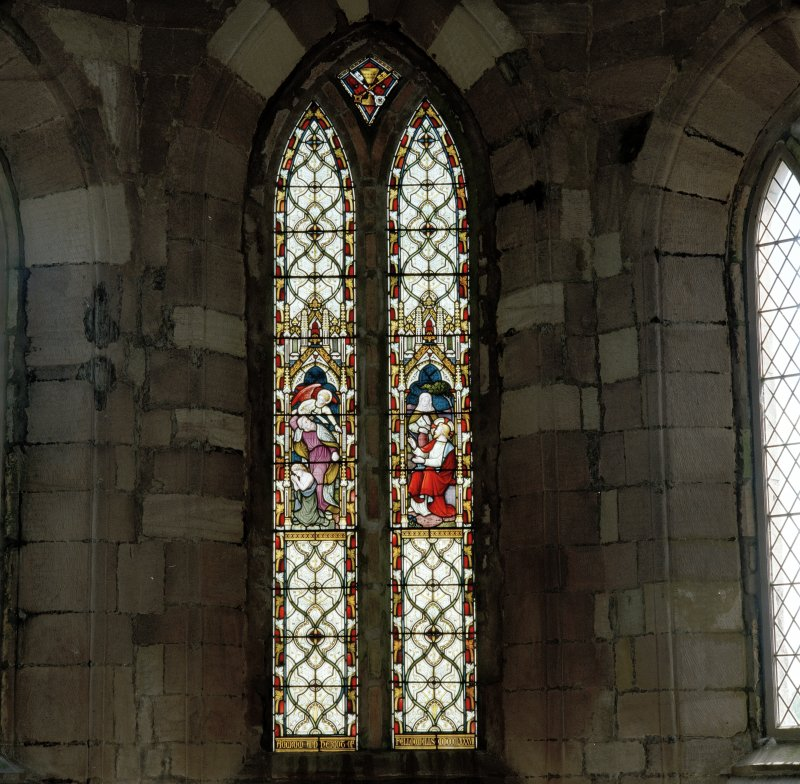 Interior. Detail of stained glass in double lancet window