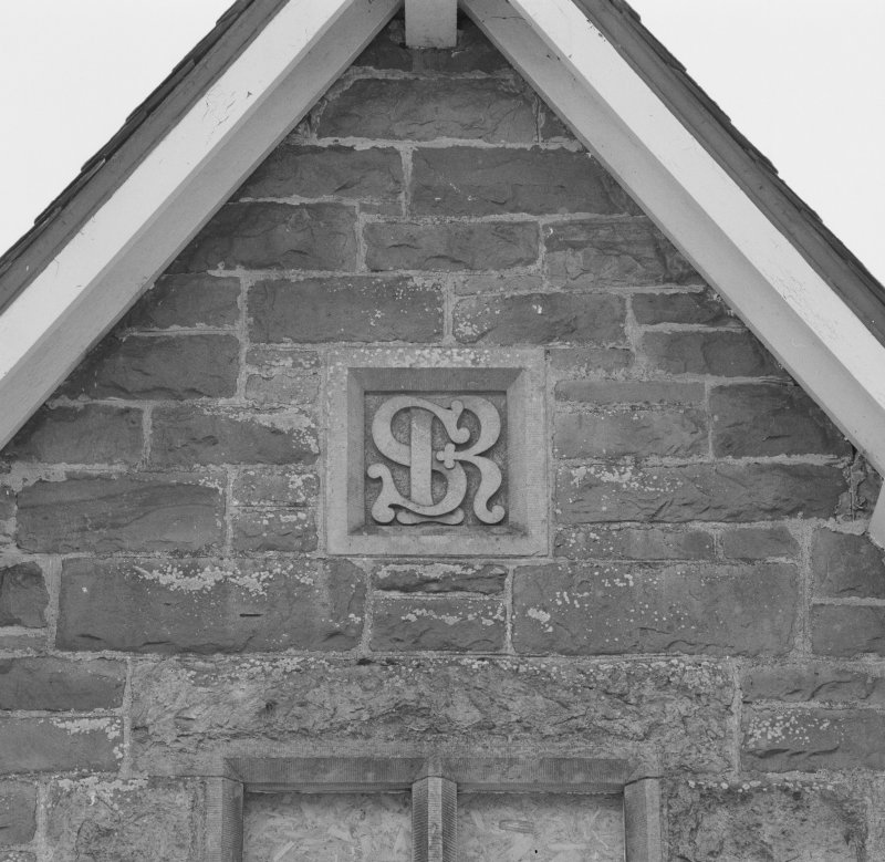 Detail of Sutherland Railway plaque in W gable of station building (facing the platforms)