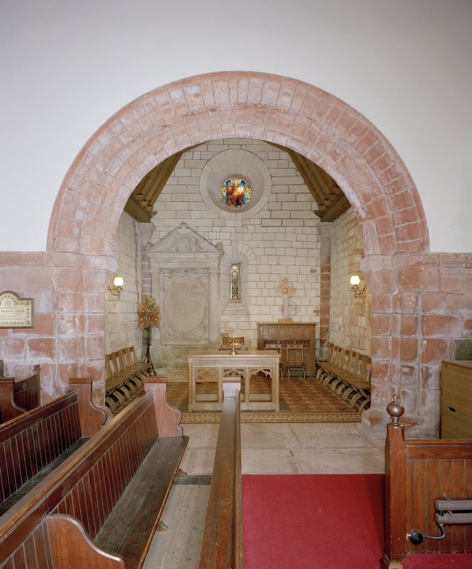 Interior. View of chancel arch from W