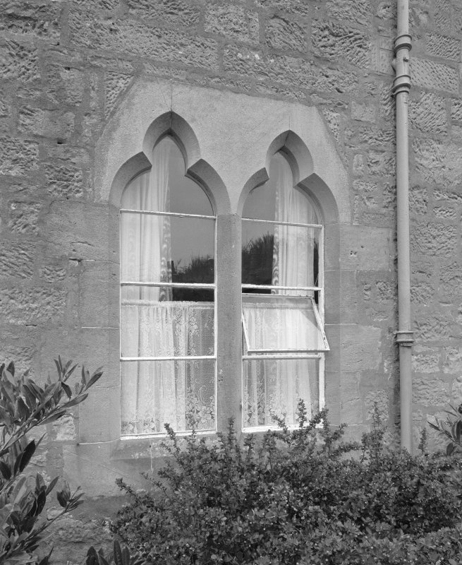 Detail of ground floor gothic mullioned window on E elevation