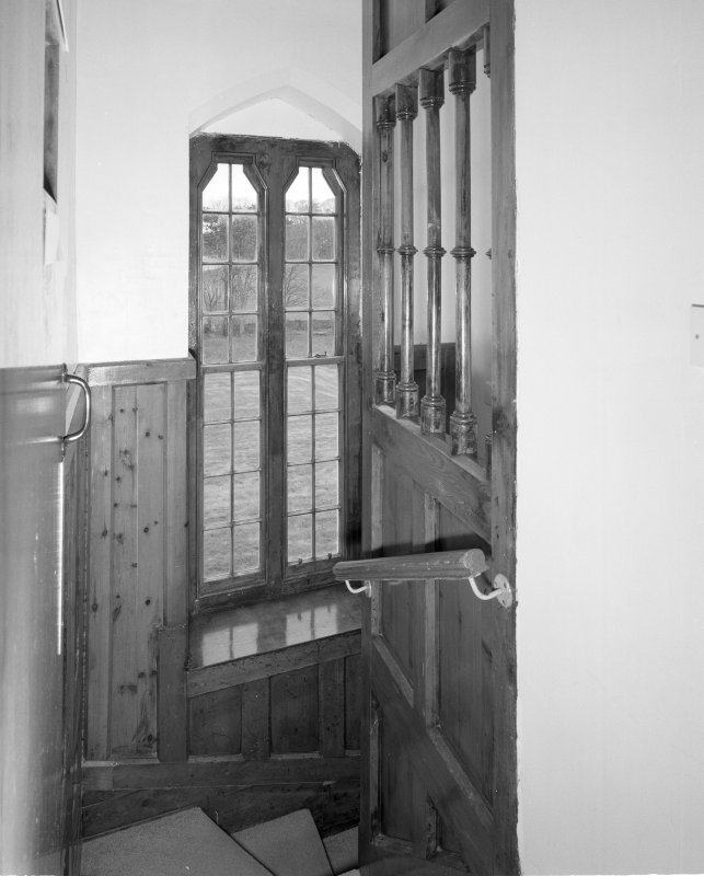 Interior. Detail of staircase showing screen