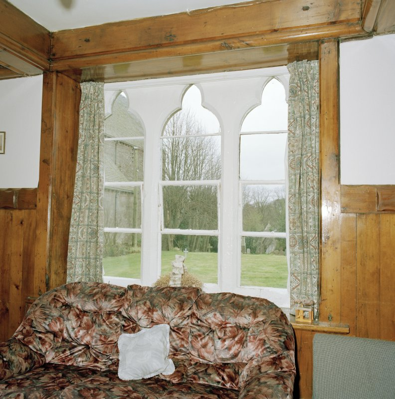 Interior. Ground floor Common room Detail of mullioned gothic window