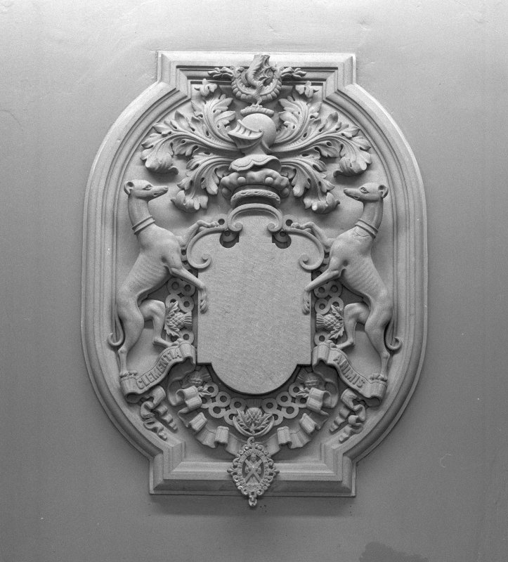 Interior. Entrance hall detail of coat of arms
