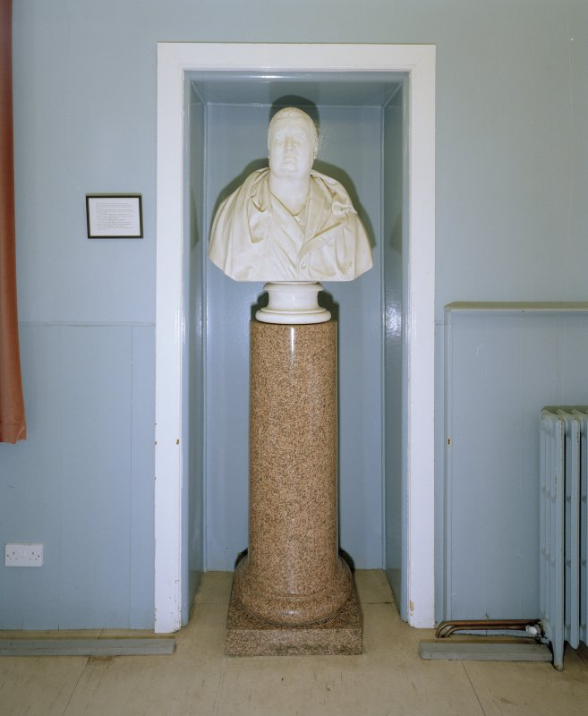 Interior. Ground floor lower hall detail of bust of Lord Panmure