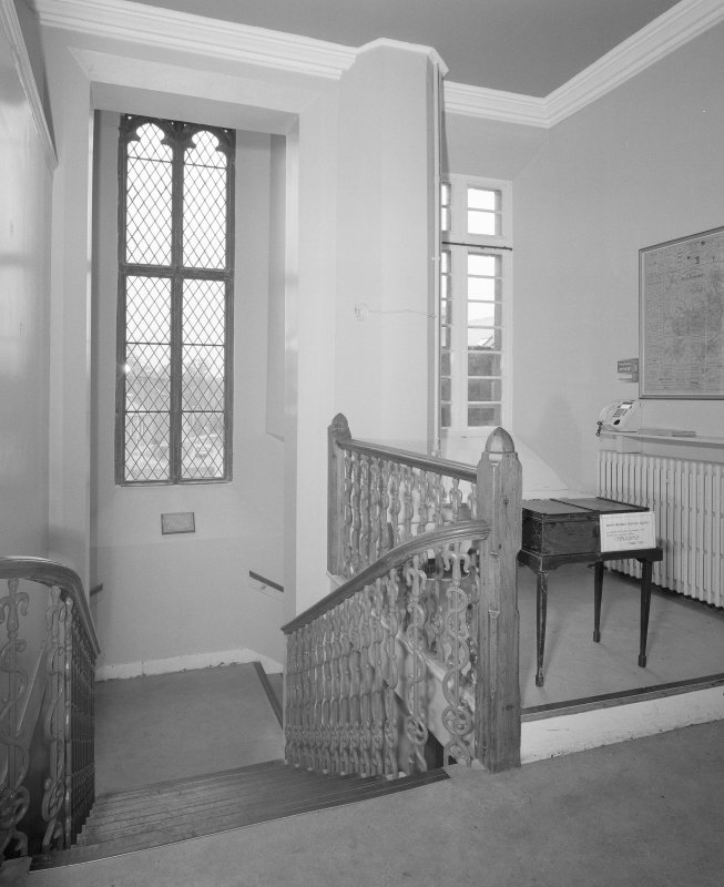 Interior. 1st floor stair landing from E
