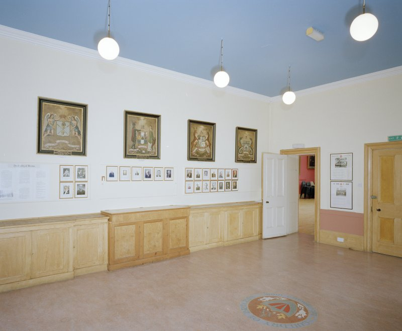 Interior. 1st floor Guild Hall from NW