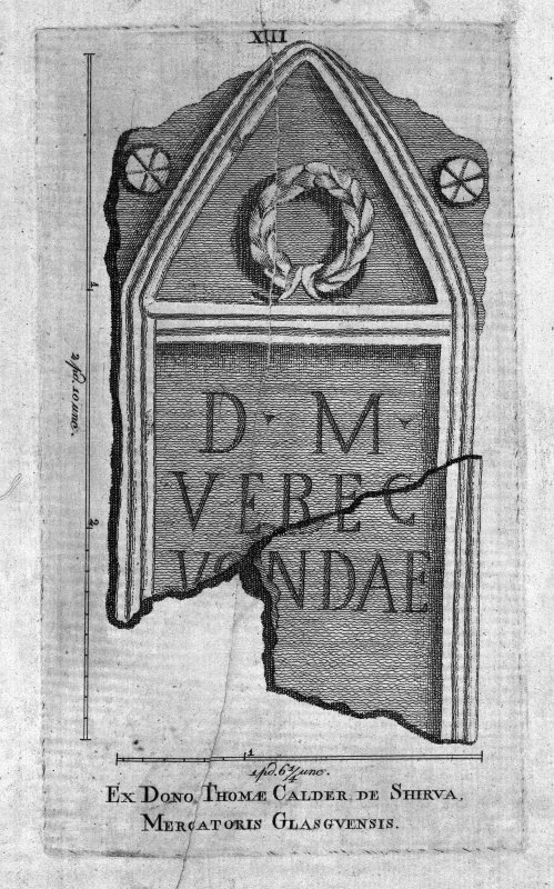 Plate XIII from 'Stones from the Roman Walls' Insc. 'Ex Dono Thomae Calder de Shirva, Mercatoris Glasgvensis'