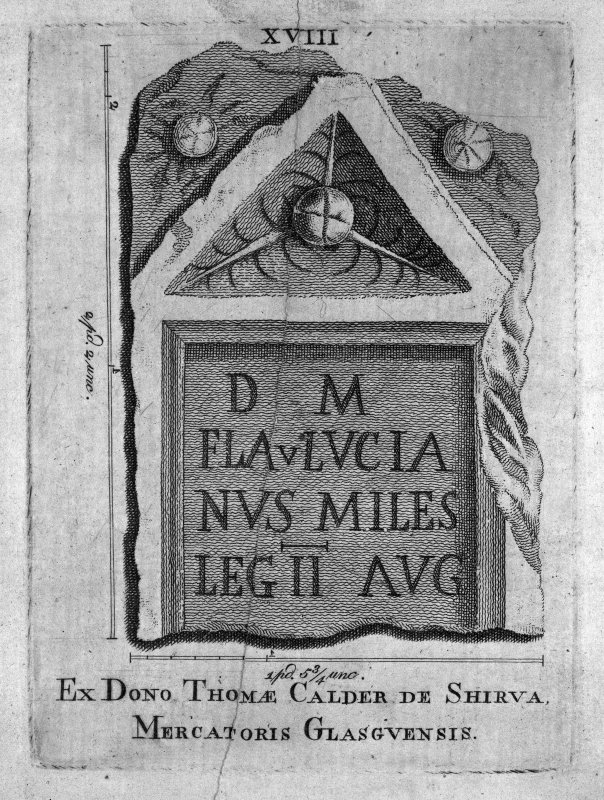 Plate XVIII from 'Stones from the Roman Walls' Insc. 'Ex Dono Thomae Calder de Shirva, Mercatoris Glasgvensis'