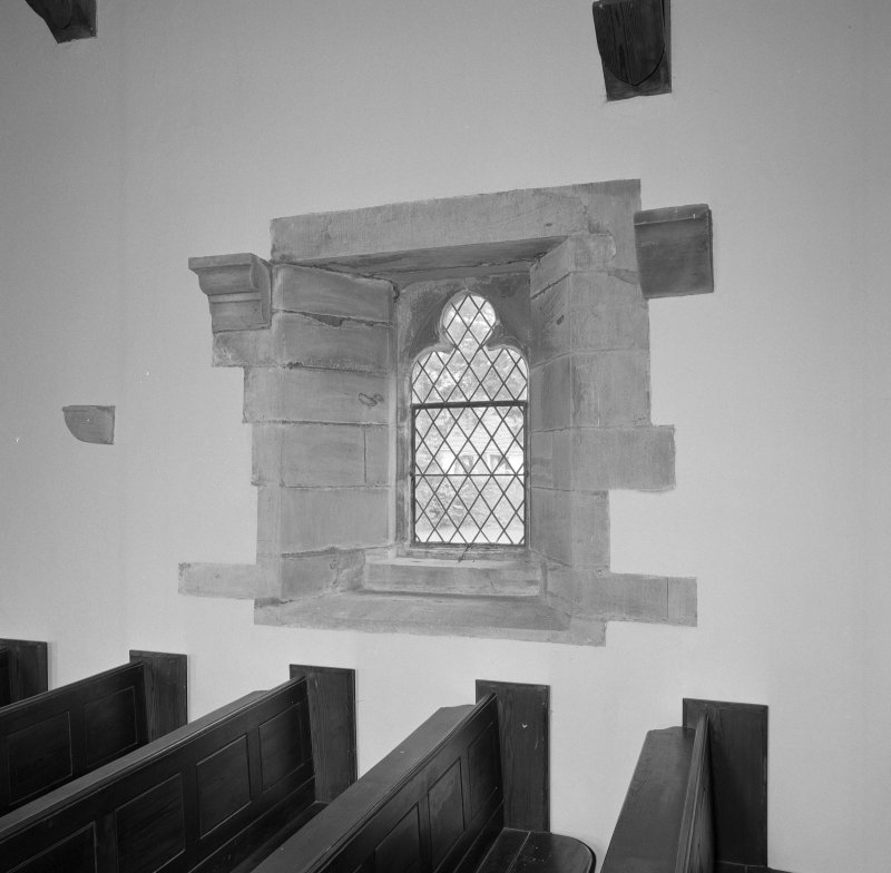 Interior. View of window in S wall.