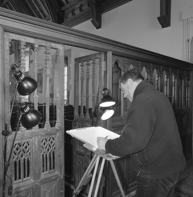 Interior. View of John Borland (RCAHMS Survey and Graphics) drawing traceried doors in rood screen.