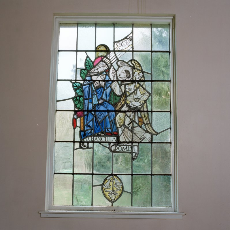 Interior, detail of stained glass in chapel