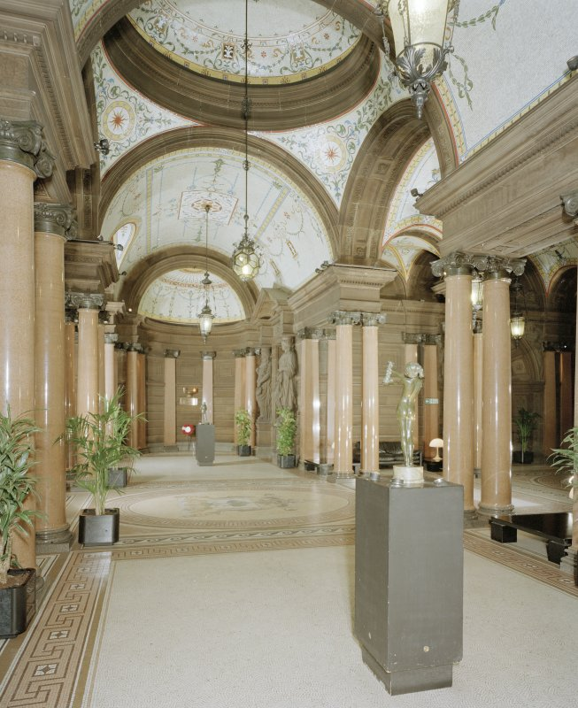Interior. Ground floor entrance hall from West