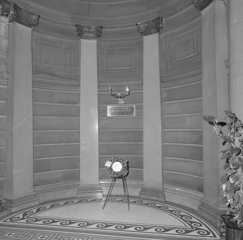 Interior. Ground floor entrance hall detail of nurses memorial