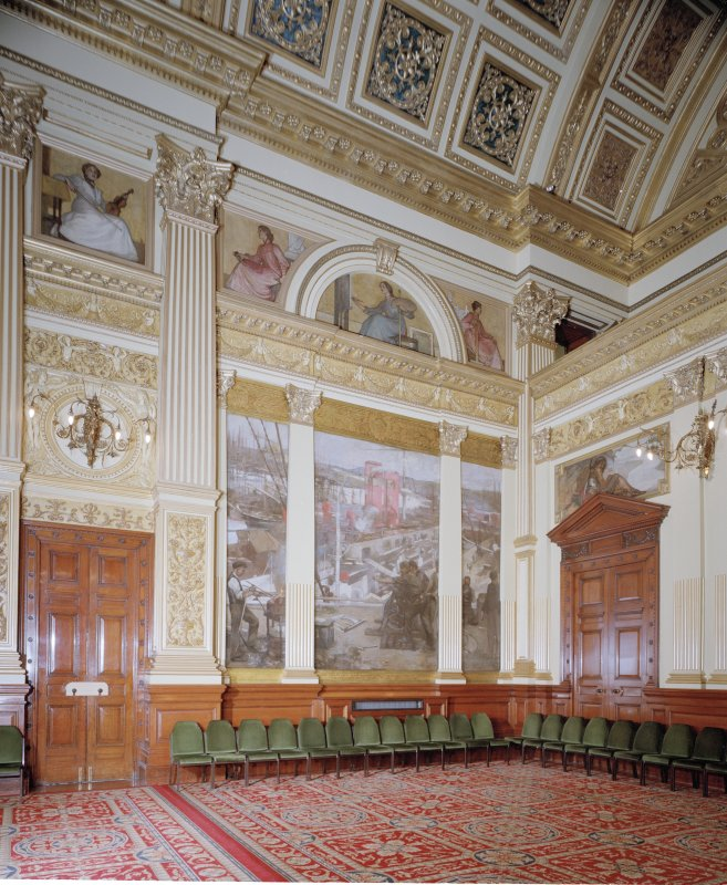 "Interior. Second Floor Banqueting Hall, ""SHIPBUILDING ON THE CLYDE"" mural by Sir J Lavery"
