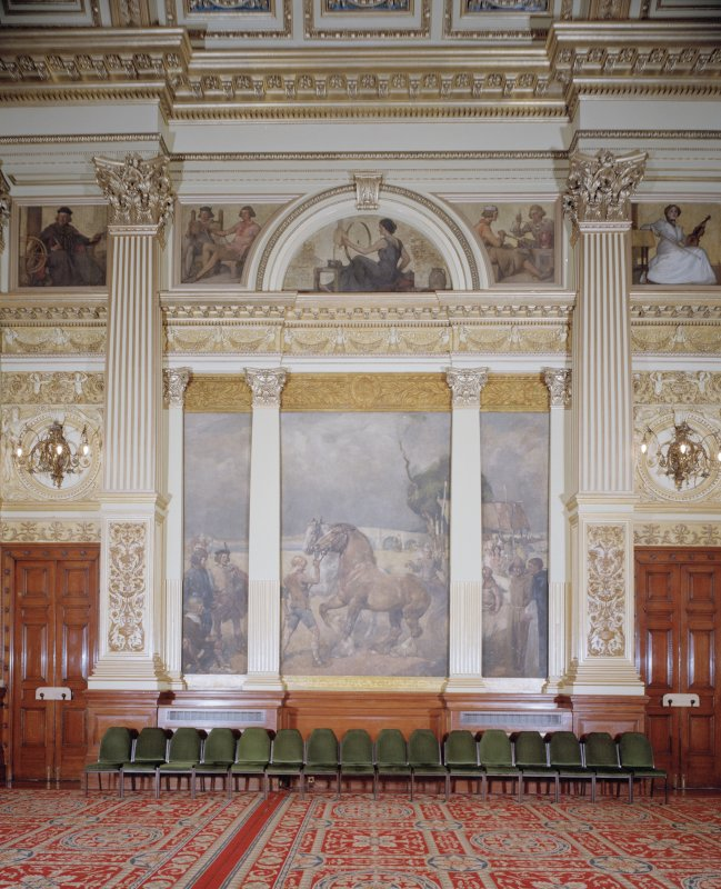 "Interior. Second Floor Banqueting Hall, ""GLASGOW FAIR"" mural by E A Walton"