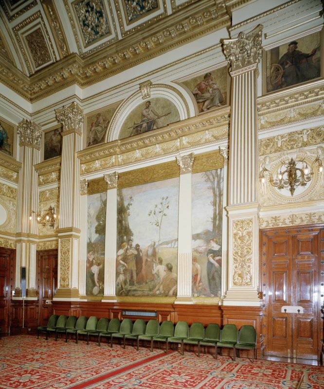 "Interior. Second Floor Banqueting Hall, ""THE LEGEND OF THE CITY ARMS"" mural by A Roche"