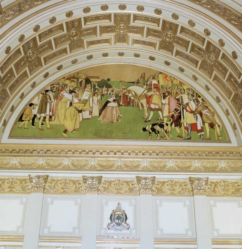 "Interior. Second Floor Banqueting Hall, East wall lunette ""GRANTING OF GLASGOW'S CHARTER BY WILLIAM THE LION"" by G Henry"