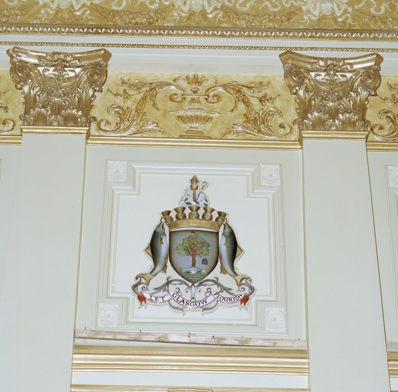 Interior. Second Floor Banqueting Hall, Glasgow coat of arms