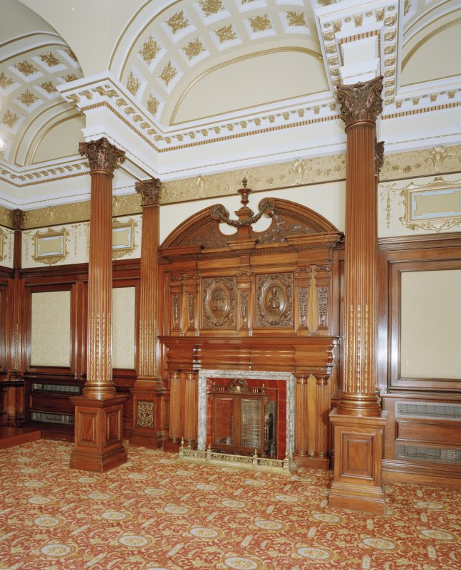 Interior. Second Floor Mahogany Reception Room, fireplace