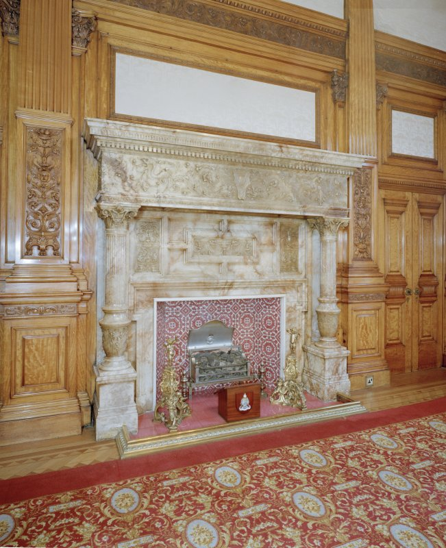 Interior. Second Floor Satinwood Salon, fireplace