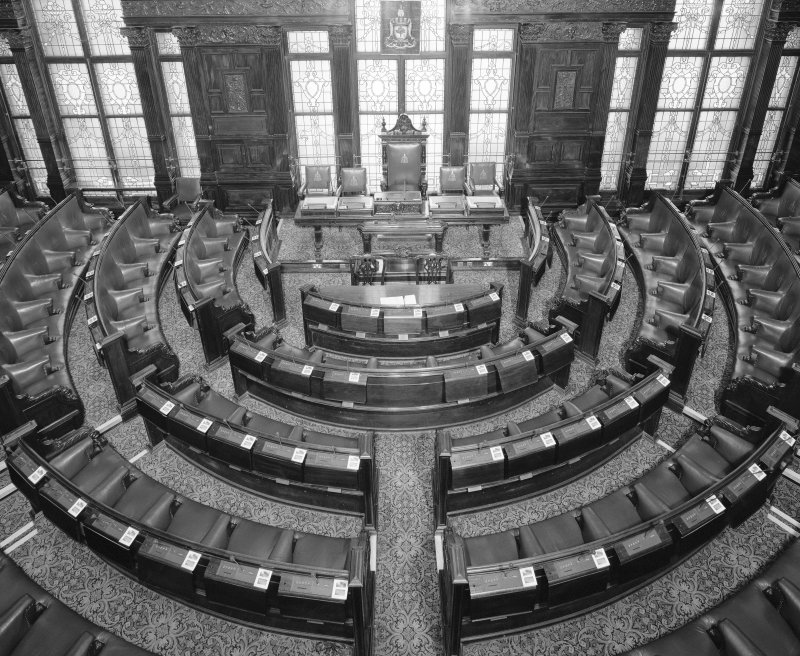 Interior. Second Floor Council Chamber from balcony