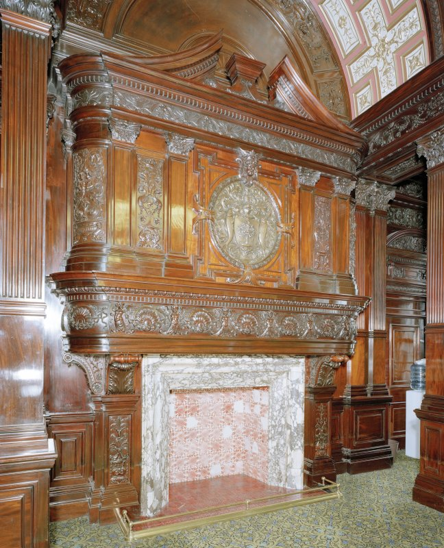 Interior. Second Floor Council Chamber, fireplace