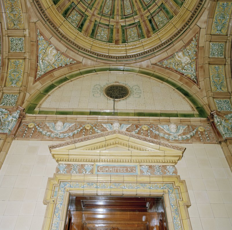 Interior. Second Floor Councillor`s Corridor, Committee Room 2 door pediment and tiling