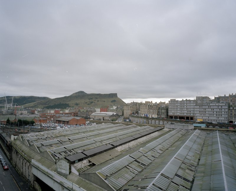 View from first floor window over Waverley Station to the Old Town