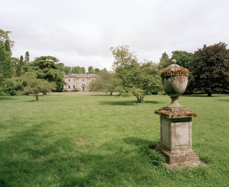 General view from S showing parkland setting and ornamental urn
