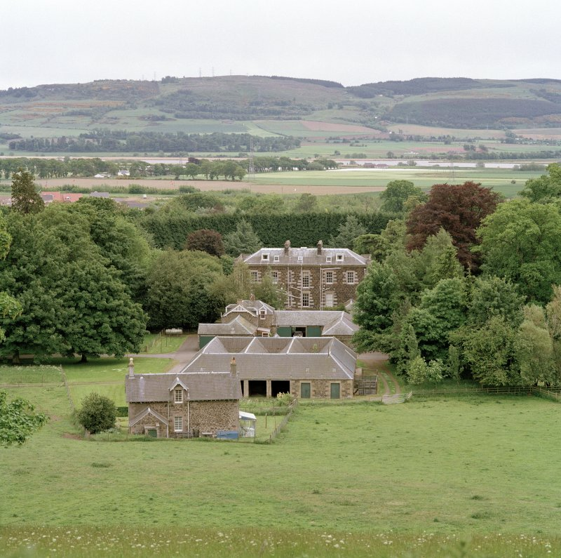 View from N showing house, stables and steading with views over the Tay to Fife.