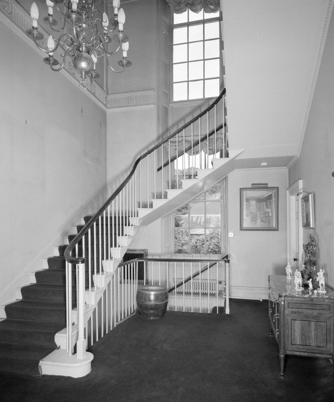 Interior. View of stair hall from S