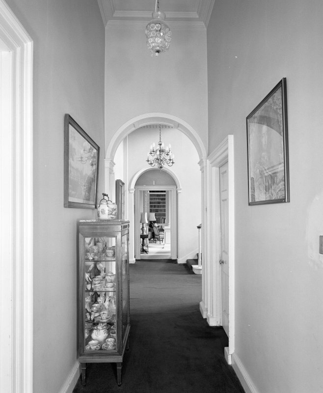 Interior. View of ground floor corridor from E looking towards the library