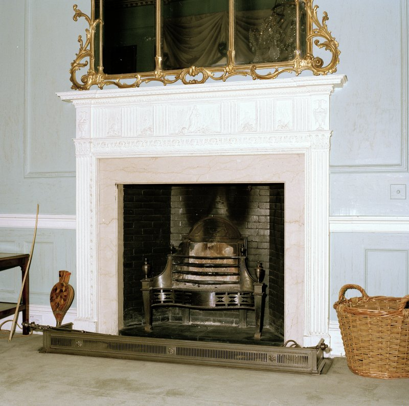 Interior. Detail of drawing room painted timber and gesso fireplace