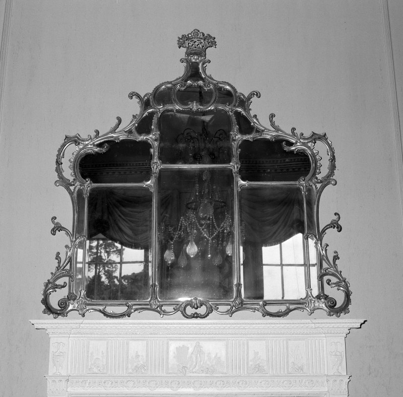 Interior. Detail of drawing room fireplace overmantle mirror