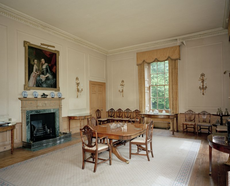 Interior. View of ground floor dining room from SW