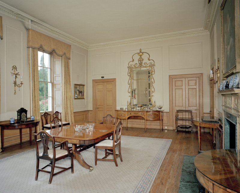 Interior. View of ground floor dining room from ENE