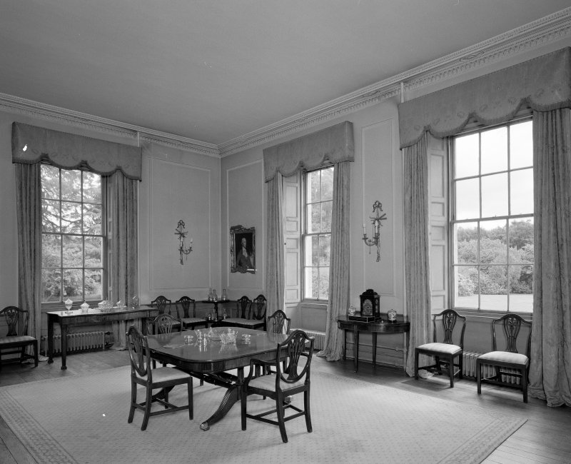 Interior. View of ground floor dining room from NW