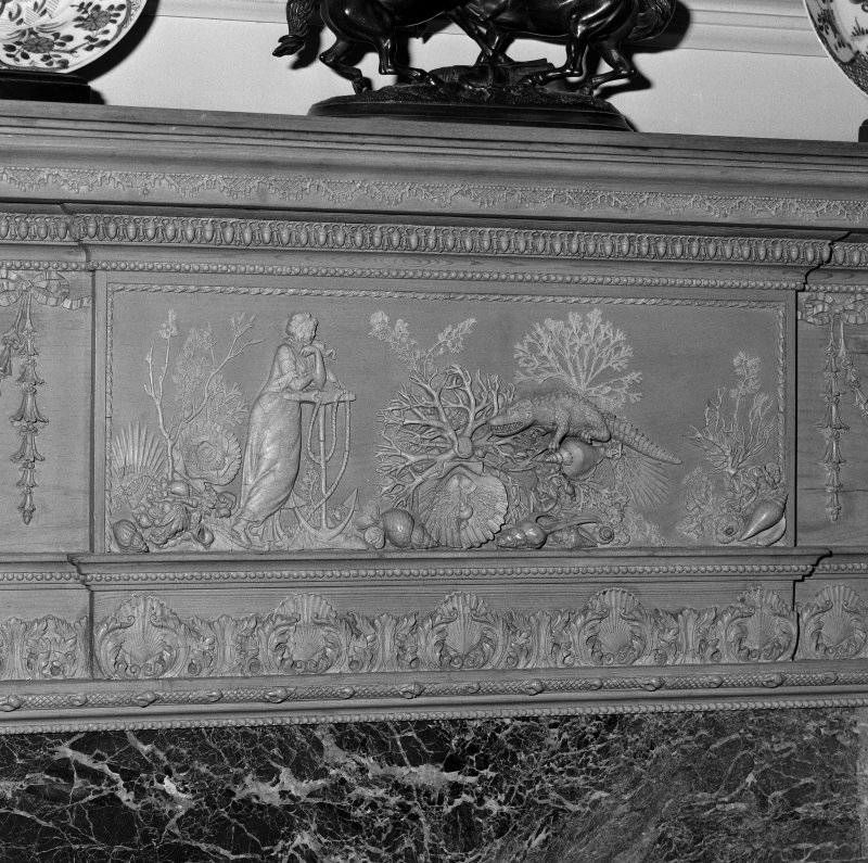 Interior. Detail of dining room timber and gesso with crocodile fireplace